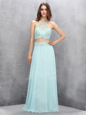 Chic A-line Two Pieces Spaghetti Straps Light Blue Chiffon Prom Dress Evening Dress AM663