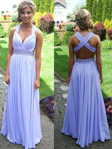 Chic A-line Straps Chiffon Ruffles Lilac Long Prom Dress Evening Dress AM665