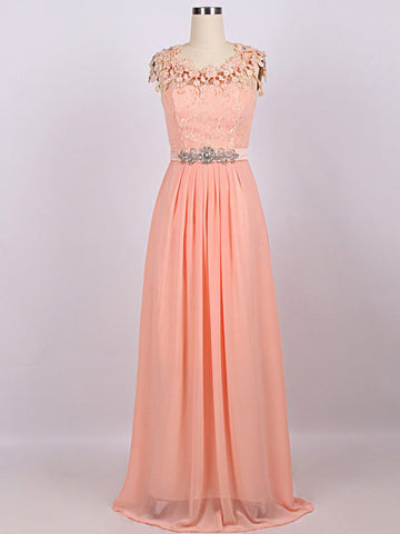 Chic A-line Scoop Chiffon Applique Modest Long Prom Dress Evening Dress AM666