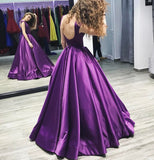 Chic A-line Bateau Regency Satin Simple Long Prom Dress Evening Dress AM667