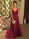 Chic A-line V-neck Satin Simple Burgundy Long Prom Dress Evening Dress AM670