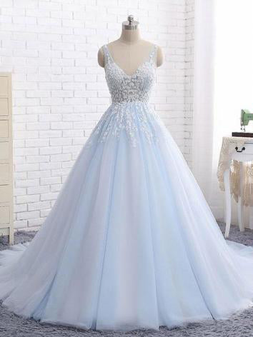 Chic A-line V-neck Light Sky Blue Applique Long Prom Dress Evening Dress AM671