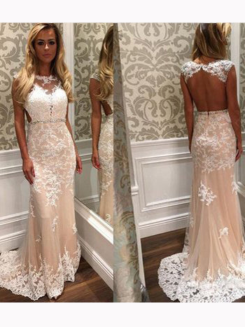 Chic Sheath/Column Scoop Applique Tulle Long Prom Dress Evening Dress AM674