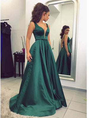 Chic A-line V-neck Satin Hunter Simple Long Prom Dress Evening Dress AM676