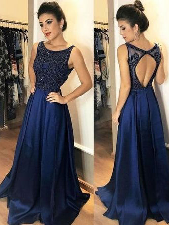 Chic A-line Scoop Dark Navy Beaded Modest Long Prom Dress Evening Dress AM677
