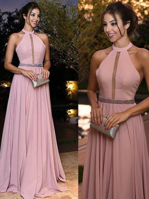 Chic A-line Halter Chiffon Pink Simple Long Prom Dress Evening Dress AM678