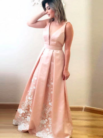 Chic A-line V-neck Satin Pearl Pink Simple Long Prom Dress Evening Dress AM679