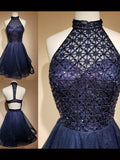 A-line High Neck Dark Navy Short Prom Dress Tulle Chic Homecoming Dress AM682