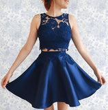 Two Pieces A-line Scoop Blue Short Prom Dress Satin Chic Homecoming Dress AM683