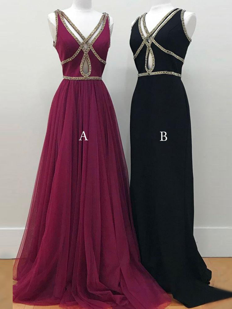 A-line Prom Dress Burgundy V-neck Tulle Beading Chic Long Evening Dress AM684