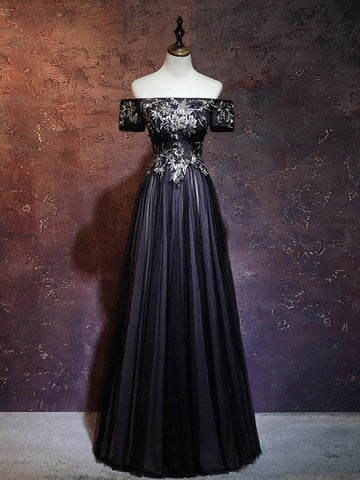 Chic A-line Off-the-shoulder Tulle Applique Black Long Prom Dress Evening Dress AM686