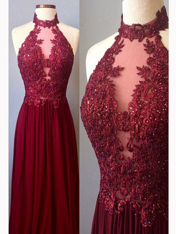Chic A-line High Neck Chiffon Applique Burgundy Long Prom Dress Evening Dress AM688