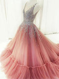 A-line Prom Dress Pearl Pink V-neck Tulle Beading Chic Long Evening Dress AM690
