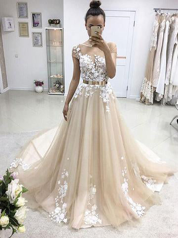 Chic A-line Bateau Applique Short Sleeve Tulle Long Prom Dress Evening Dress AM692