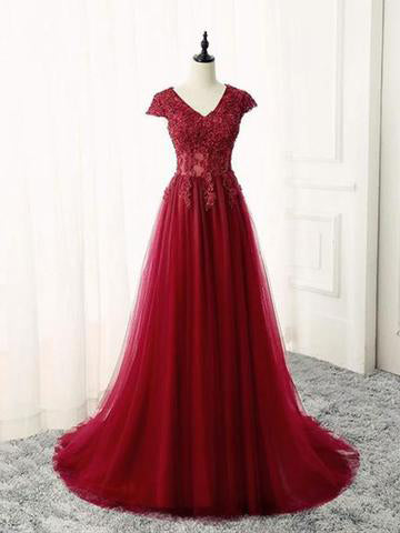 A-line Prom Dress Burgundy V-neck Tulle Applique Chic Long Evening Dress AM693