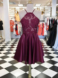 A-line Spaghetti Straps Burgundy Short Prom Dress Chic Homecoming Dress AM695