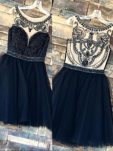Chic A-line Dark Navy Scoop Tulle Beading Short Prom Dress Homecoming Dress AM697