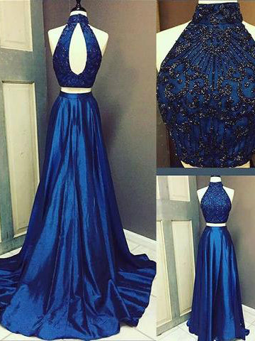Two Pieces A-line High Neck Prom Dress Royal Blue Beading Satin Chic Evening Dress AM700
