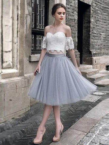 Two Pieces A-line Off-the-shoulder Silver Lace Short Prom Dress Chic Party Dress AM701