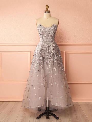 A-line Sweetheart High Low Prom Dress Silver Applique Tulle Chic Evening Dress AM702