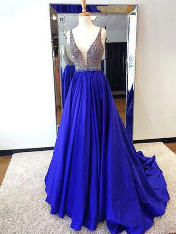 Chic A-line V-neck Royal Blue Beading Modest Long Prom Dress Evening Dress AM703
