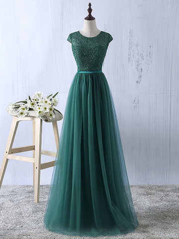 A-line Scoop Dark Green Long Prom Dress Modest Tulle Chic Evening Dress AM704