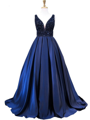 A-line V-neck Dark Navy Long Prom Dress Modest Satin Chic Evening Dress AM705