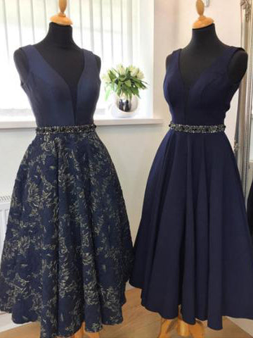 A-line V-neck Dark Navy Tea Length Prom Dress Satin Modest Evening Dress AM706