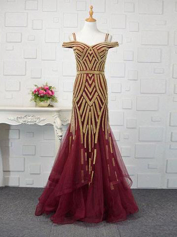 Trumpet/Mermaid Prom Dress Burgundy Off-the-shoulder Chic Tulle Evening Dress AM707