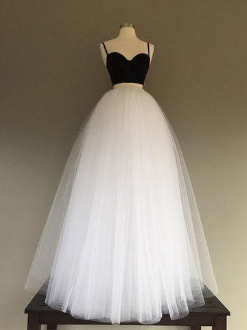 Two Pieces Prom Dress Black White Spaghetti Straps Tulle Simple Evening Dress AM709