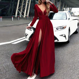A-line V-neck Hunter Prom Dress Satin Simple Evening Dress Party Dress AM710