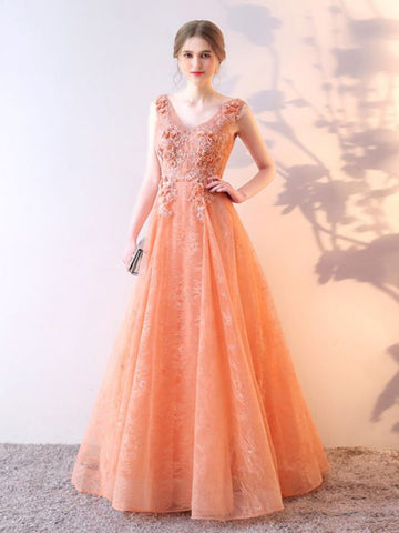 Chic A-line V-neck Tulle Lace Applique Modest Long Prom Dress Evening Dress AM711