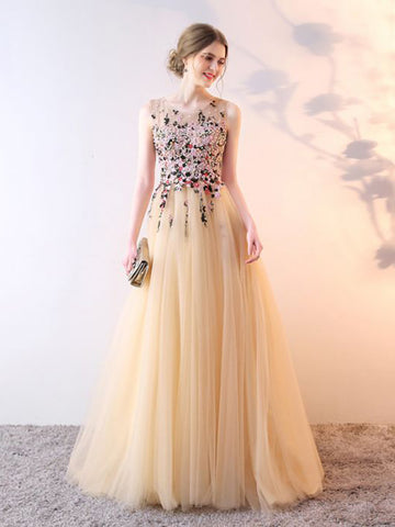 Chic A-line Scoop Beading Tulle Modest Long Prom Dress Evening Dress AM712