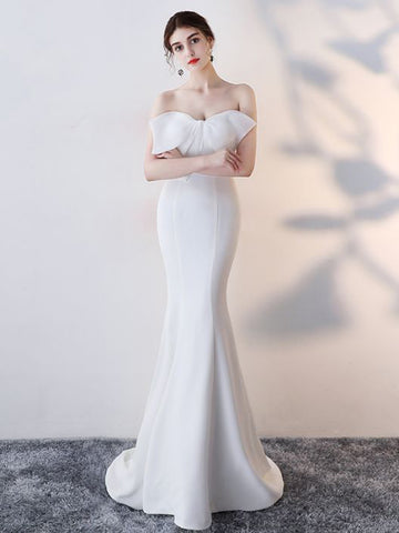 Chic Trumpet/Mermaid Strapless Satin White Simple Long Prom Dress Evening Dress AM713