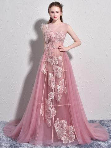 Chic A-line Bateau Pink Lace Tulle Modest Long Prom Dress Evening Dress AM715