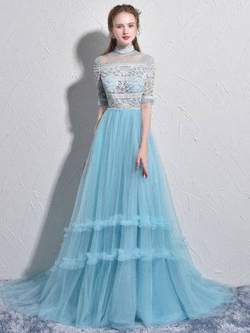 Chic A-line High Neck Tulle Lace Modest Blue Long Prom Dress Evening Dress AM716