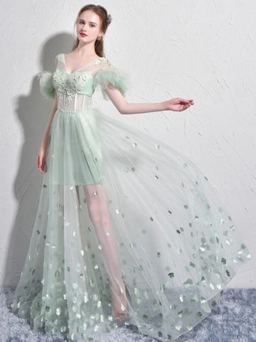 Chic Green Prom Dress A-line V-neck Tulle Long Prom Dress Evening Dress AM717