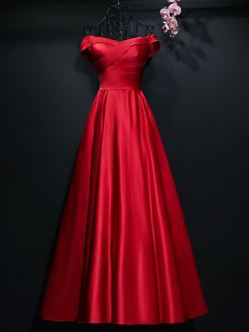 Chic A-line Off-the-shoulder Red Satin Simple Long Prom Dress Evening Dress AM719