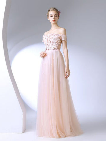 Chic A-line Off-the-shoulder Pearl Pink Applique Modest Long Prom Dress Evening Dress AM721