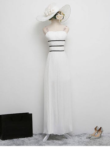 Chic A-line Straps White Ruffles White Modest Long Prom Dress Evening Dress AM722