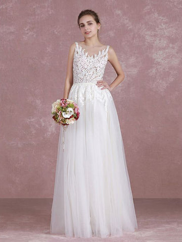 Chic A-line Scoop Tulle White Applique Long Prom Dress Wedding Dress AM727