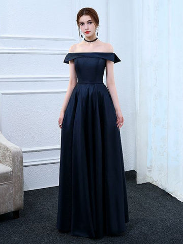 Chic A-line Off-the-shoulder Dark Navy Simple Long Prom Dress Evening Dress AM728