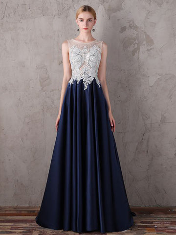 Chic A-line Scoop Dark Blue Satin Beading Long Prom Dress Evening Dress AM730