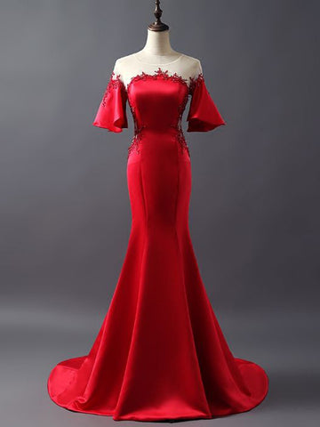 Chic Trumpet/Mermaid Scoop Red Satin Applique Long Prom Dress Evening Dress AM733