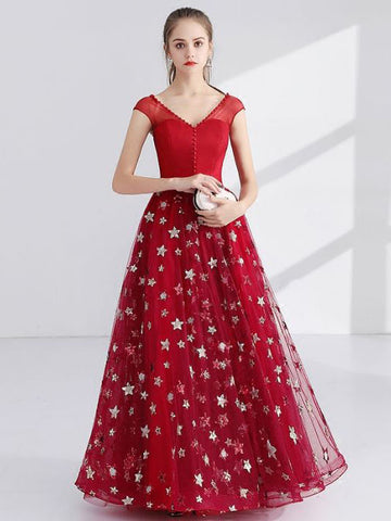 Chic A-line V-neck Tulle Red Modest Long Prom Dress Evening Dress AM734