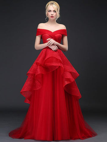 Chic A-line Red Off-the-shoulder Tulle Lace Long Prom Dress Evening Dress AM735