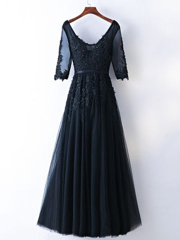 Chic A-line V-neck Tulle Black Half Sleeve Applique Long Prom Dress Evening Dress AM738