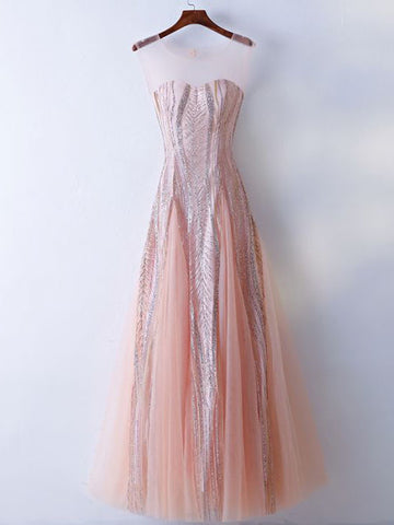 Chic A-line Scoop Tulle Pearl Pink Rhinestone Long Prom Dress Evening Dress AM739