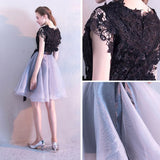 Chic A-line Scoop Organza Black Applqiue Modest Short Prom Dress Homecoming Dress AM740