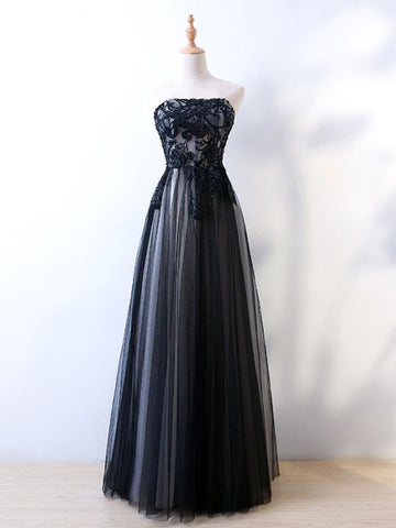 Chic A-line Strapless Tulle Black Applique Long Prom Dress Evening Dress AM741